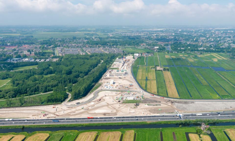 Luchtfoto bouwplaats RijnlandRoute
