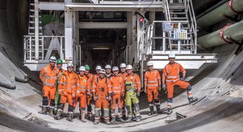 Groepsfoto van het tunnelteam