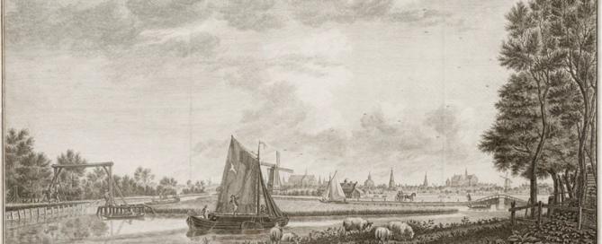 De stad Leyden, van de Schans Lamme te zien