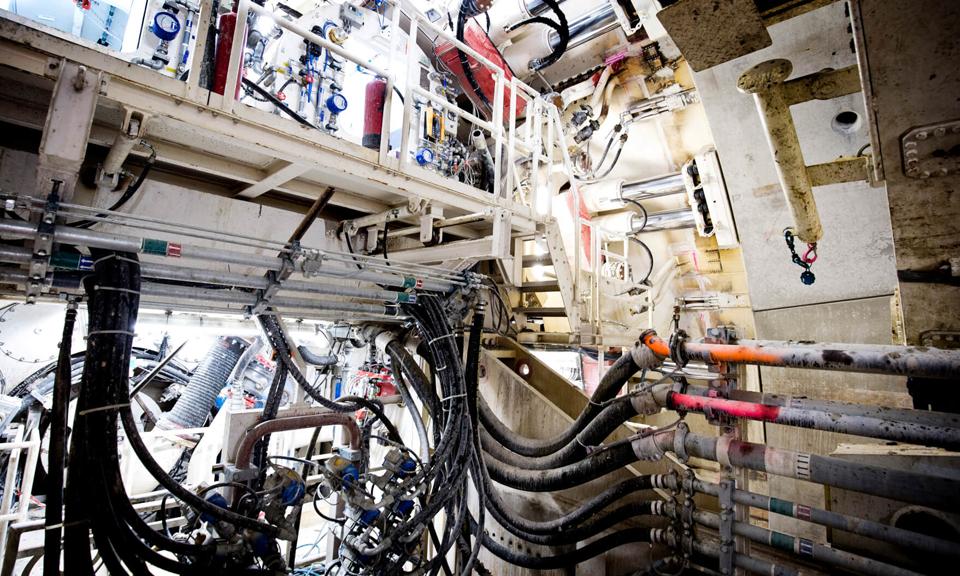 Binnenkant van de tunnelboormachine