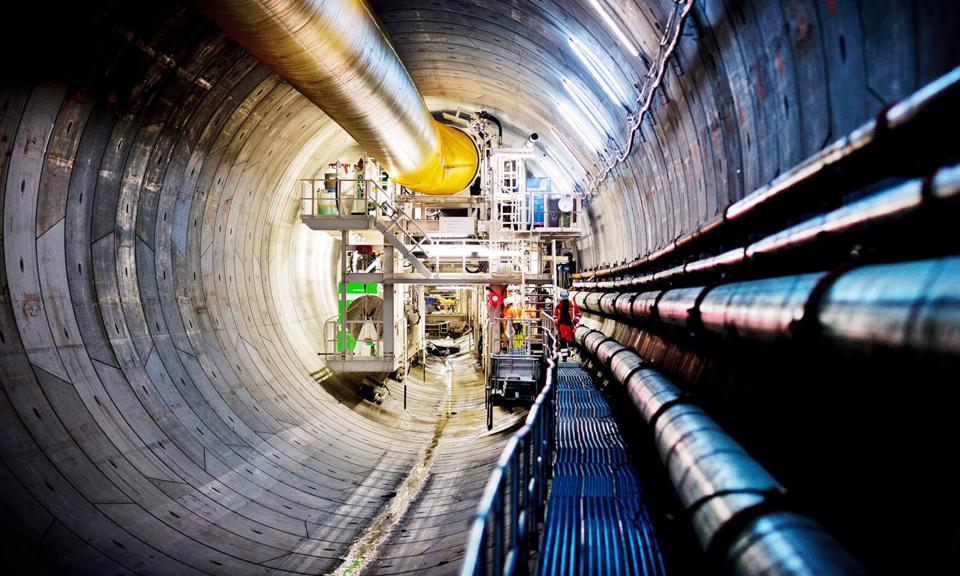Achterkant van de tunnelboormachine