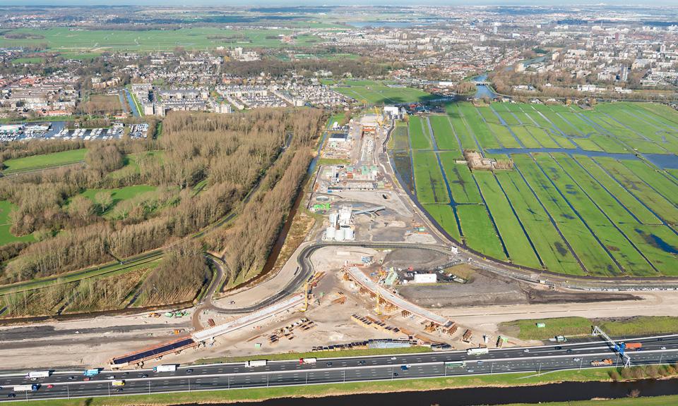 Luchtfoto A4 - Overzichten knooppunt Vlietland