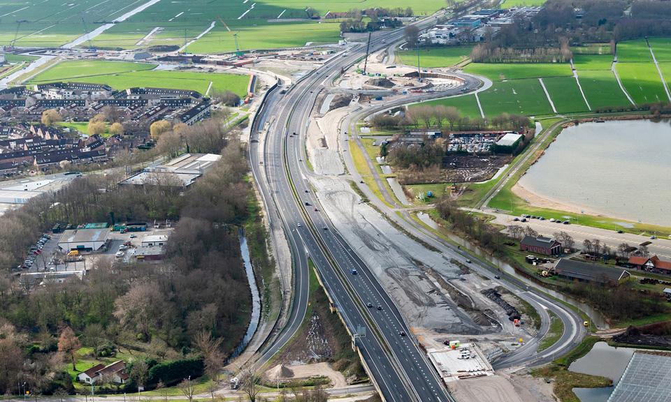 Luchtfoto A44 - Overzichten Werkgebied richting Zuid