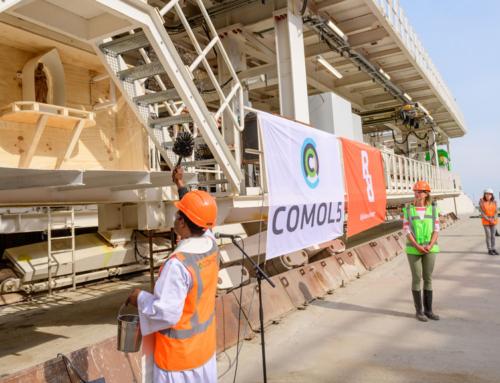 Tunnelboormachine ingezegend voor tweede tunnelbuis