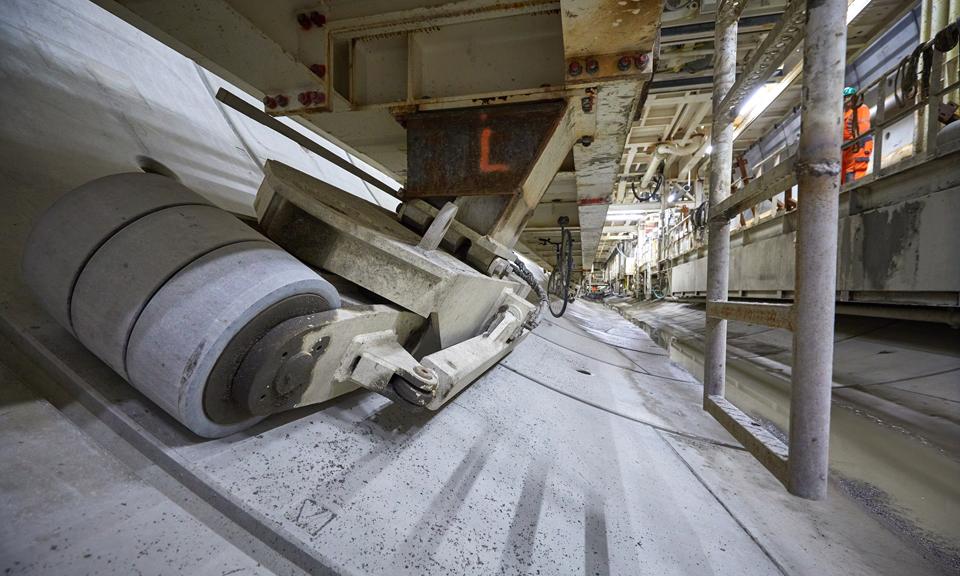 Close-up wielen tunnelboormachine