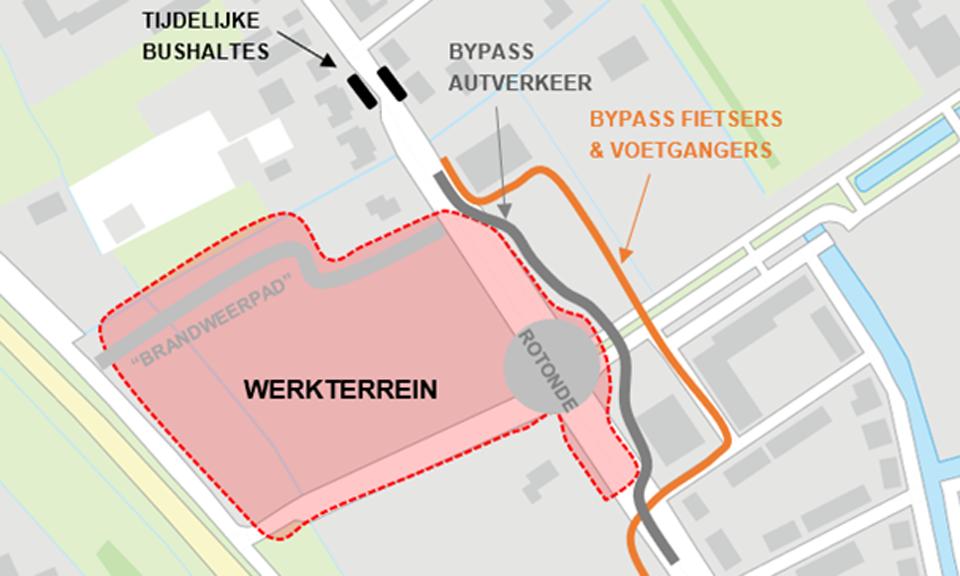 Routekaart werkterrein en verkeerssituatie tijdens aanleg rotonded