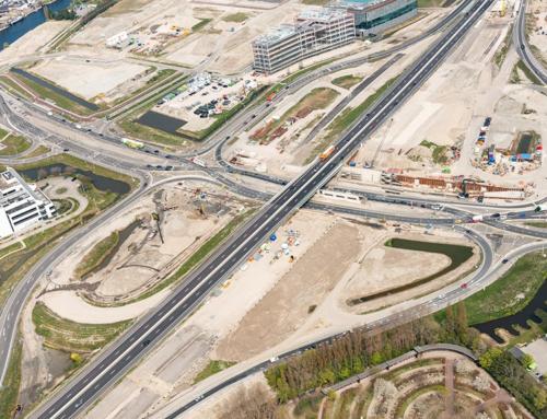 13 september 2021 definitieve verkeerssituatie aansluiting Leiden-West in gebruik