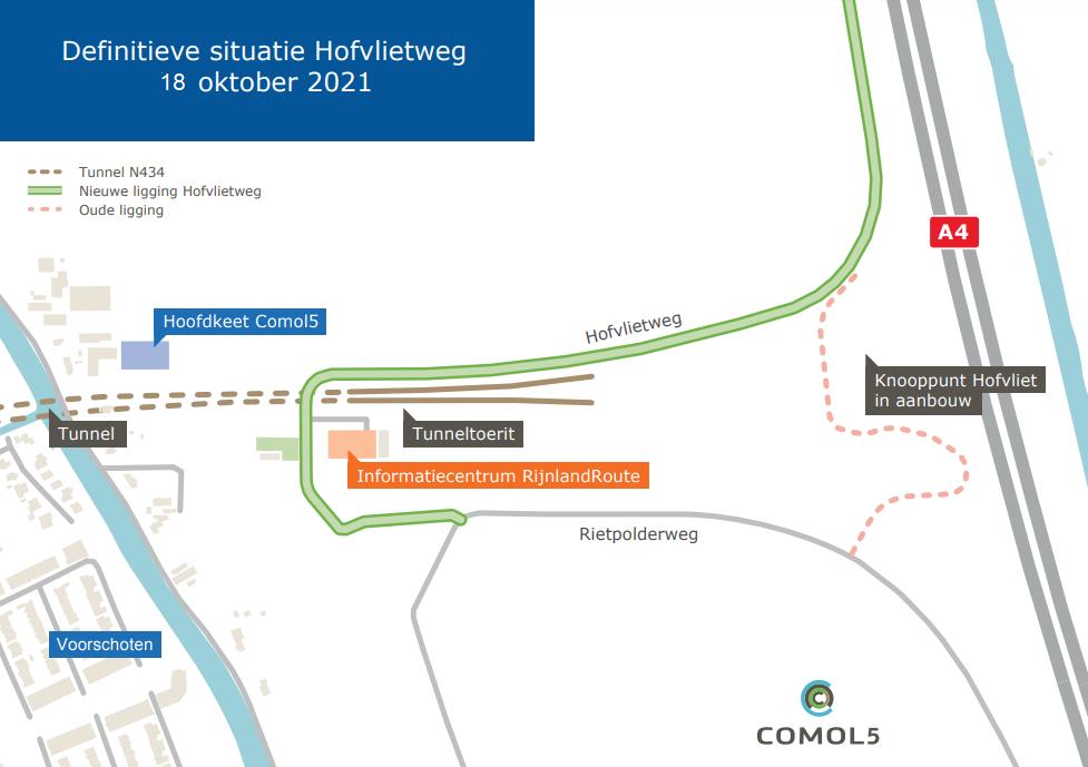 Routekaart nieuwe Hofvlietweg vanaf 18 okt